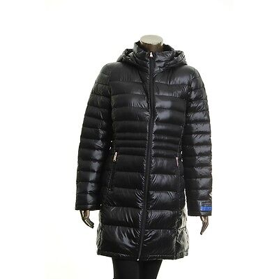 ANDREW MARC NEW Women's Black Packable Hooded Puffer Jacket Top L TEDO