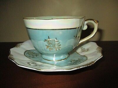 VINTAGE  LUSTERWARE  Green and Pearl with  gold accents TEA CUP AND SAUCER