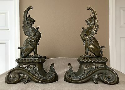 French Repoussé Brass Griffin Andirons Original C. 1890 - Chenets / Fire Dogs