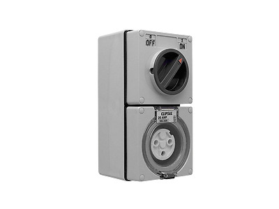 CLIPSAL 56C320 Switch Socket Outlet 3 pin Round 20A 250V Combo Grey Gray