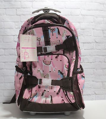 Pottery Barn Kids girls Rolling Backpack PINK & Chocolate Brown HORSES