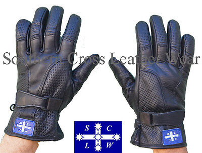 "Perforated Full Finger Black Leather Motorcycle Gloves ""Milano"""