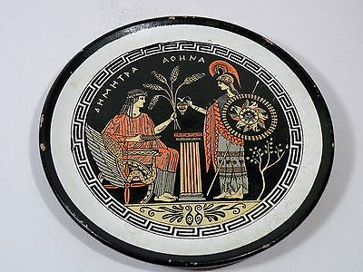 n131 ANCIENT GREEK REPRODUCTION PLATE, pottery, Demeter & Athena Red figure