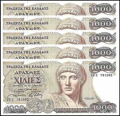 Greece 1,000 (1000) Drachmaes X 5 Pieces (PCS), 1987, P-202, UNC