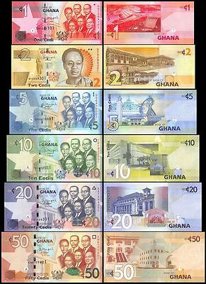Ghana 1 Cedi to 50 Cedis, 2015, P-37T42, UNC, 6 Piece Full Set