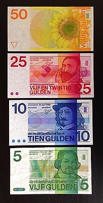 Netherlands Bank Lot of 4 notes - 5, 10, 25, 50 Gulden - P91b, 92b, 95, 96