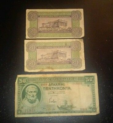 3 x Greece notes 1 x 50 & 2 x 20 Drachmas