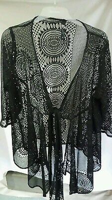 Ts Taking Shape Jacket Cardi Size S Black Lace Tie Front