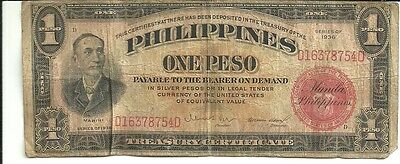 Commonwealth of the Philippines 1 Peso 1936 PICK # 81a