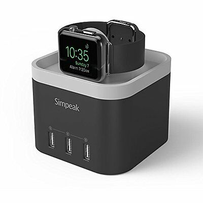 Apple Watch Charger Station iPhone Holder Charger Stand 4 Port USB Black