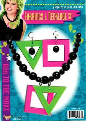 80s Disco Neon Fluro Necklace And Earrings Jewellery Set