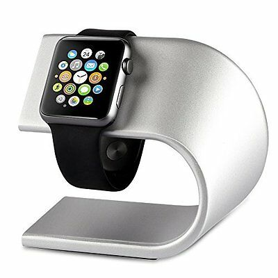 Apple iWatch Stand Charging Dock Station Aluminum Body Sturdy Holder Silver