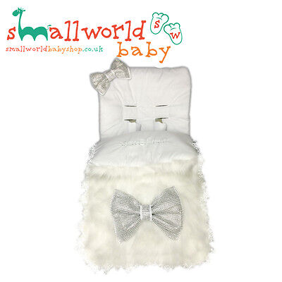 Personalised White Fur Footmuff Cosytoes (NEXT DAY DISPATCH)