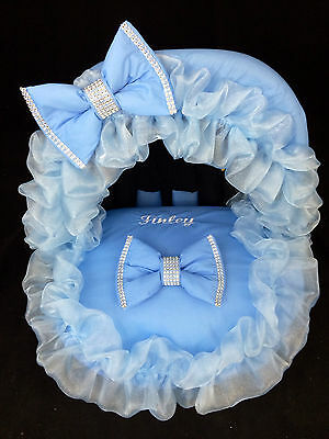 Personalised Blue Bling Baby Car Seat Cover (NEXT DAY DISPATCH)
