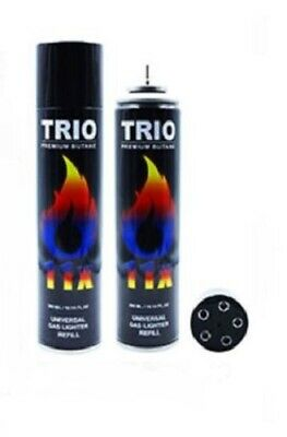 3 x Gas 300ml Trio 11x Refined Lighter Refill Jet Blow Torch Fuel BBQ