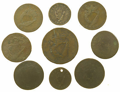 Ireland, Collection Of 9 Coins, 17Th-19Th Century