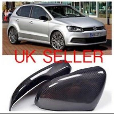 VW Polo 6R Real Carbon Fibre Mirror Covers 2011-2013 UK SELLER Gti Tdi R