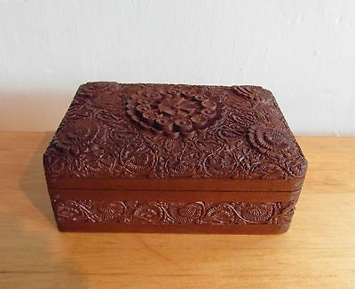 Antique Anglo Indian Hand Carved Wooden Trincket Box
