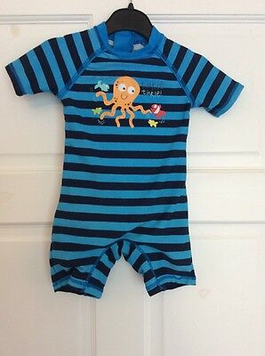 Baby Boy's Early Days Navy & Blue Striped 'Octupus' One Piece Swimsuit 9 - 12mth