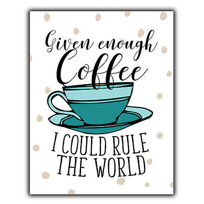GIVEN ENOUGH COFFEE RULE THE WORLD METAL WALL PLAQUE decor humorous kitchen art
