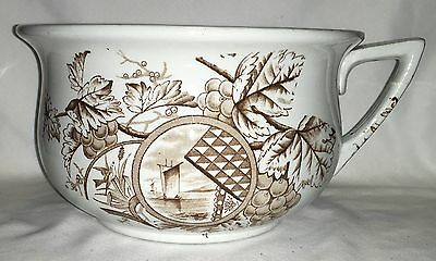 Brown Transferware Ironstone Chamber Pot Chinese Sail Boat Design Art Pottery