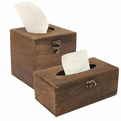 Tissue Box High-grade Vintage Burned Wooden Drawer Box Holder Case Rectangle