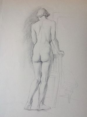 FEMALE NUDE - Original 1950s life study - Beautiful pencil drawing