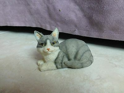Stone Critters Grey And White Striped Cat Figurine Kitten