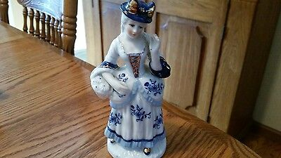 Vintage Signed N with Feather-Colonial Lady in Blue & White-Gold Accents -7""