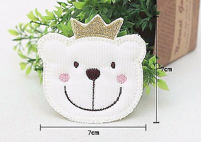 Bear King Crown white Sew on Appliques Embellishment Patch Card making (F79)