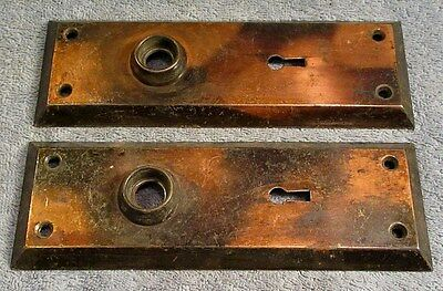 Pair Of Matching Antique Victorian Brass Door Knob Door Plate