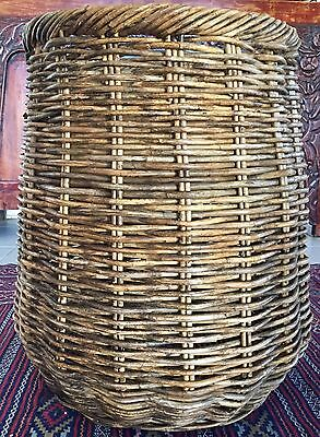 Large French Rattan Wicker Cane Hamper Basket Box Storage Rustic Chic Industrial