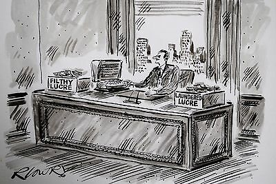 Fab Ray Lowry Pen & Ink Original Drawing ~ Filthy Lucre ~ Cartoon, Humour