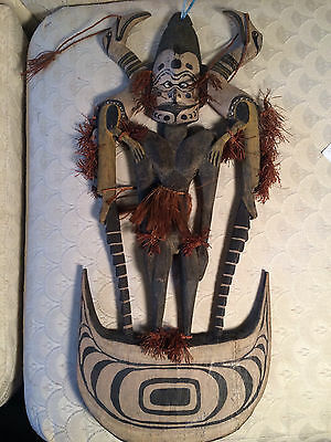 Superb Large Antique Carved African Wood Plaque With Figure And Birds