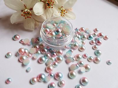 Mermaid Pearls Mixed Pot Round Pink Blue Fade Effect Flat Back Nail Art Gems M1