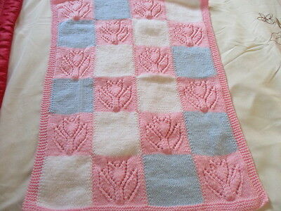"Beautiful Hand Knitted Baby Blanket 27""x 19"" Approx Pink/White/Blue New"
