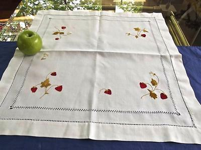 "Antique Society Silk Embroidered Red Wild Strawberries 22""sq Linen Centerpiece"