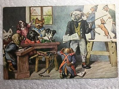 Old Postcard - Artist Arthur Thiele, Dressed Dogs in the Classroom