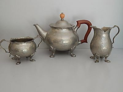 Arts & Crafts Tudric hammered Pewter tea set