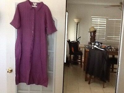 Tribeca 100% linen short sleeve size 16 button down the front dress