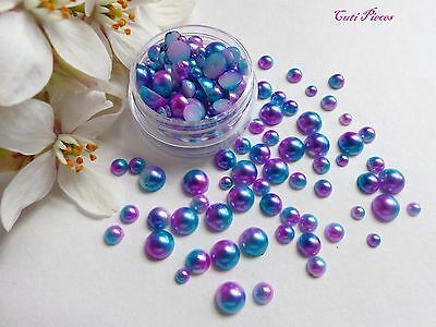 Mermaid Pearls Mixed Pot Round Purple Blue Fade Effect Flat Back Nail Art Gem M2