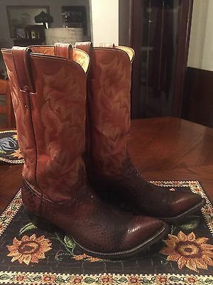 Vintage Men's/JUSTIN Anaconda Snake Print/100% Leather/Sz.9D/Brown/MADE IN USA