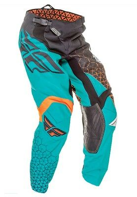 Fly Kinetic Youth Riding Pants Blk/teal/orange Waist Size 26 Ships Free