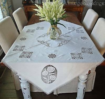 """Antique Needle Lace Handmade Tablecloth 48"""" x 48"""""""