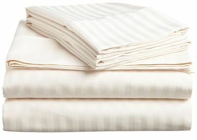 Bed Sheet Set Ivory Stripe Queen Size 1000 Thread Count Egyptian Cotton