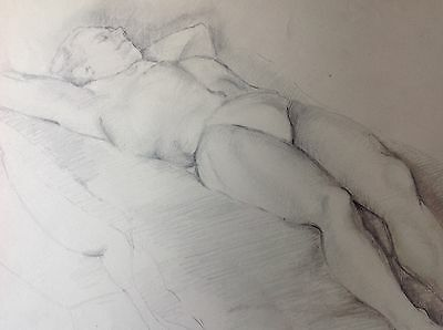 SLEEPING MAN -  LIFE DRAWING - Original 1950s pencil artwork - GAY INTEREST
