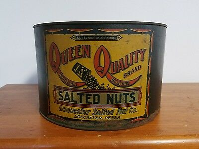 Vintage Queen Quality 5 LB Salted Peanuts Tin Advertising Collectible