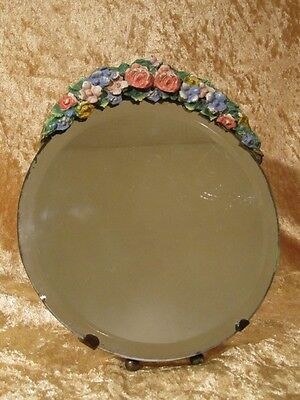 Vintage 20s 30s Barbola Small Round Mirror Floral Design Easel Stand Shabby Chic