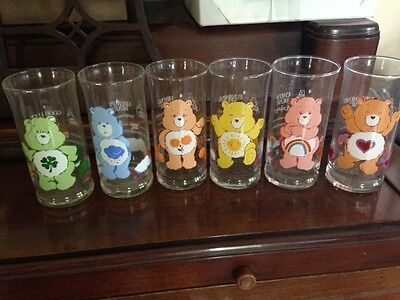Complete Set of 6 Vintage Care Bear Glasses from Pizza Hut 1983