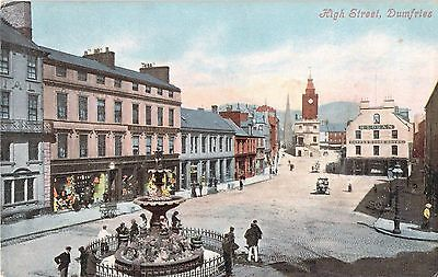Early Vintage Colour Postcard High Street Animated Shops Dumfries Scotland